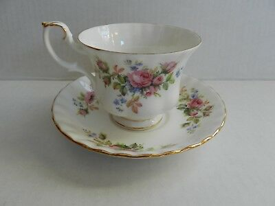 Vintage Royal Albert Moss Rose Cup And Saucer Footed Montrose Shape Gold Gilding