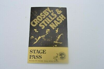 1970's CROSBY, STILLS & NASH Stage Pass - Concert Productions International NOS