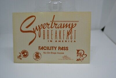 1970's SUPERTRAMP Breakfast in America Facility Pass - Concert Prod. Int. NOS
