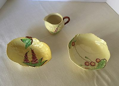 3 pc Carlton Ware Yellow Foxglove Ceramic ~Hand painted England 1875 Carltonware