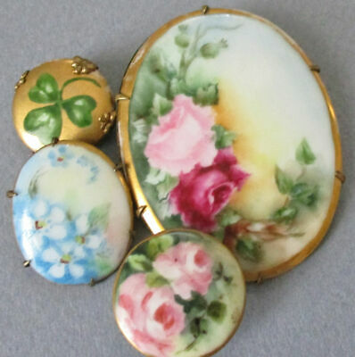 Lot 4 Antique HP Limoges Porcelain Brooches + Button PINK ROSES Clover + FMNs