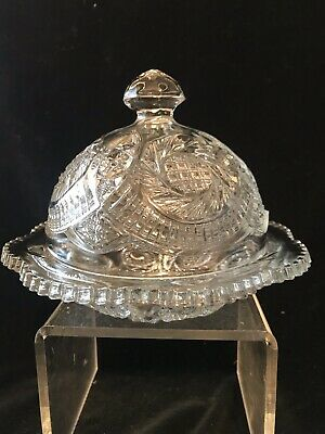 Paneled Daisy & Fin cut Clear Round Covered Butter Dish Indiana Glass 1905 EAPG