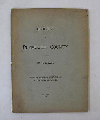 Bain Geological Geology Plymouth County Iowa Illus. Folded Map Topography 1898