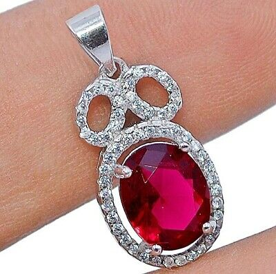 Buy Now 2CT Ruby & White Topaz 925 Sterling Silver Pendant Jewelry, V4