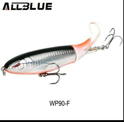ALLBLUE Topwater Soft Flexible Tail Prop Bait 90 Surface Lure 3.5in Long 1//2oz