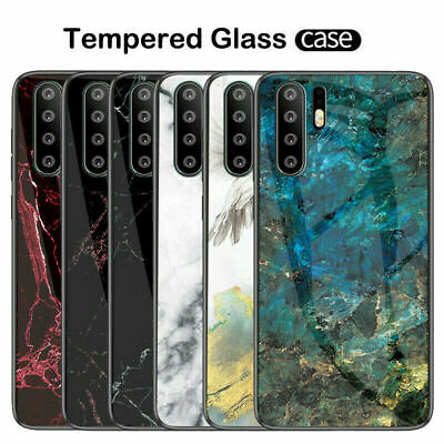 For Huawei P30 Pro Lite P20 P10 marble Hybrid Case 9H Tempered Glass Hard Cover