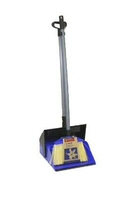 Dustpan and Brush Broom Set Dust Pan Long Sweep Lobby Garden Lid Cover BLUE NEW