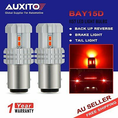 2X Auxito Bay15D 1157 Red Led Turn Signal Side Light Bulbs Globe Super Bright