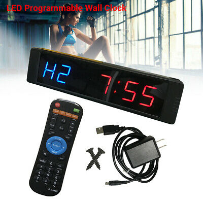 Programmable Red Blue LED Timer Clock Stopwatch Sports For Fitness Crossfit Gym