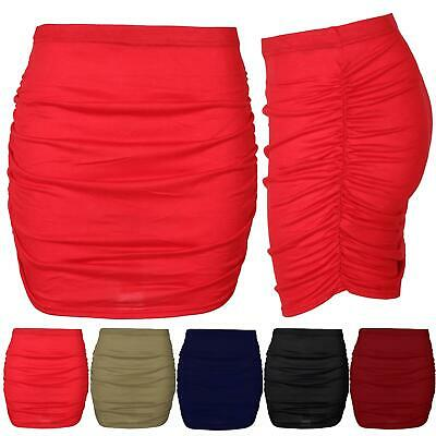 Womens Ladies Plain Stretchy Side Ruched Pencil Elasticated Waist Bodycon Skirt