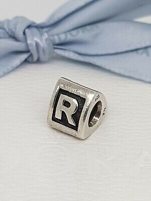 821aa836d Authentic Pandora Letter R Alphabet Block Initial Charm 790323R Retired