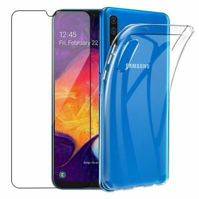 For Samsung Galaxy A70 A50 A40 A10 Clear Soft TPU Silicone Case Cover+Glass Film