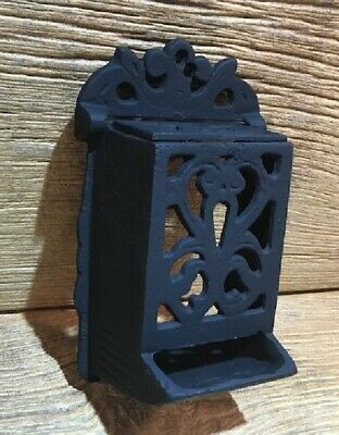 "Old Vintage Wall Mount Heavy Cast Iron Match Stick Holder 7"" Tall 0170-07671"