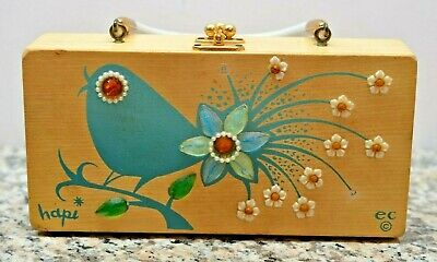 Vintage Mid Century ENID COLLINS Wooden Handbag with Mirror HAPI