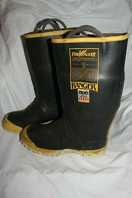 Ranger Fire Walker #3124 Men's Steel Toe Rubber Firefighter Boots Size 12 M