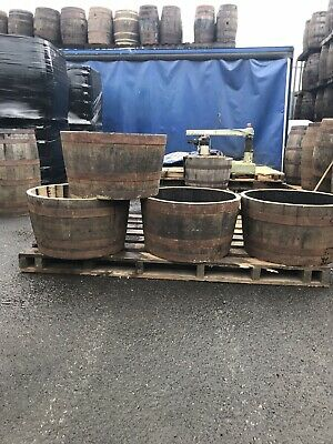 6 x Half Solid oak Whisky barrel planter garden Patio lawn tub flower pot