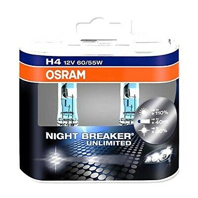 OSRAM Lampe H4 12V 60/55W Duo Night Breaker Unlimited Weiss + 110