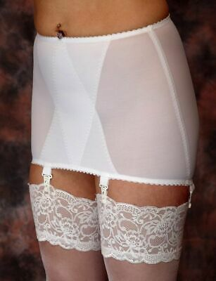 BERDITA 4 STRAP OPEN GIRDLE with CLIPS Size 12, 22, 24 ~WT~ BEIGE or WHITE 93545