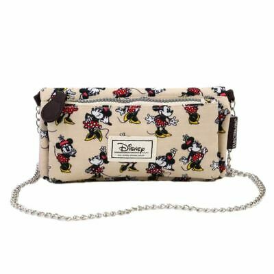 Disney Classic Minnie Mouse Beige Purse Wallet Mini Bag with Chain