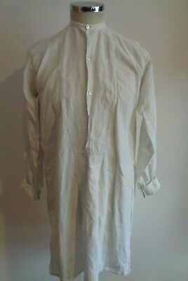 Vtg French antique 20s linen farmer peasant smock overhead chore work shirt
