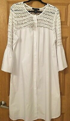 Womens 100/% cotton crochet pintucked panel button back white top sizes 10-16