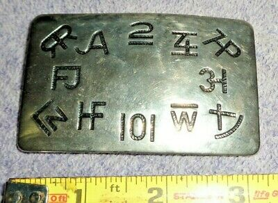 Vintage Usa Chambers Belt Co. Western Cattle Brands Symbols Cowboy Buckle