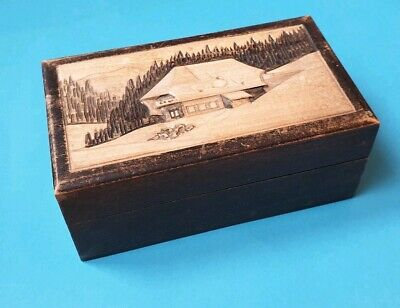 Antique Vintage Art Deco Style Ornate Carved Small Wooden Cigarette Box