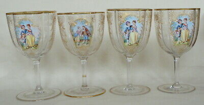 4 Moser Lobmeyr Style 19Th Century Hand Enameled Wine Goblets Engraved Gold Gilt