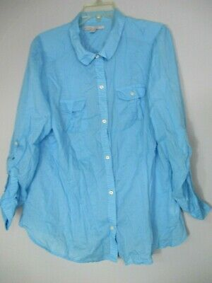 Old Navy Women's 2XL XXL 100% Cotton Long Sleeve Solid Blue Button Front Blouse