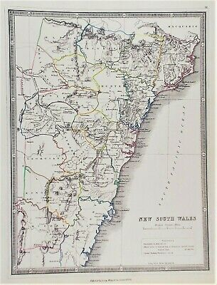 OLD ANTIQUE MAP AUSTRALIA NEW SOUTH WALES c1852 by GEORGE PHILIP  HAND COLOUR