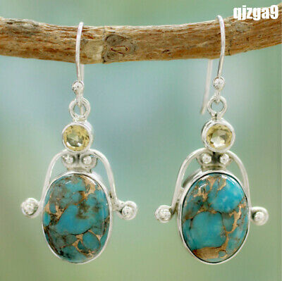 Women Vintage 925 Silver Plating Turquoise Gemstone Drop Dangle Hook Earrings