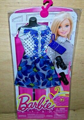 Genuine Barbie Clothes Blur Floral Dress, Shoes & Purse NEW