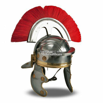 Roman Wearable Imperial Gallic Centurion Helmet w/ Red Crest & Liner LARP SCA