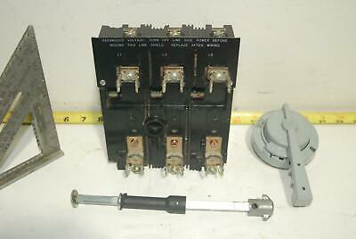 Telemecanique 3P 30 Amp Fusible Disconnect w/ Fuse Clips & Rotary Handle Tested