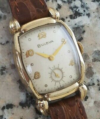 FE3: FANCY LUG ART DECO VINTAGE 1952 BULOVA RAISED GOLD #s MENS WILD CASE WATCH