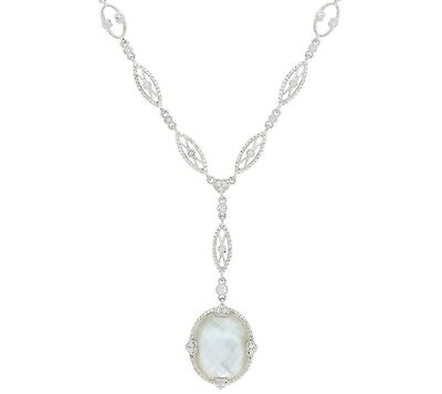 """Judith Ripka 4.65Ct Sterling Silver Mother Of Pearl Doublet 20"""" Y Necklace Qvc"""
