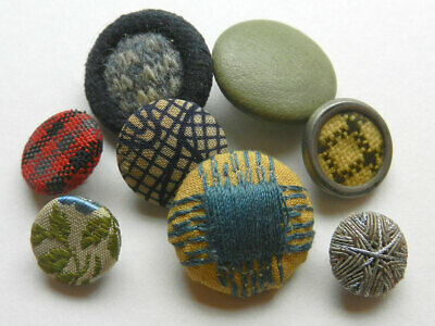 Lot of 5 Antique Vintage Fabric Covered Buttons Gone with the Wind & Inset Glass