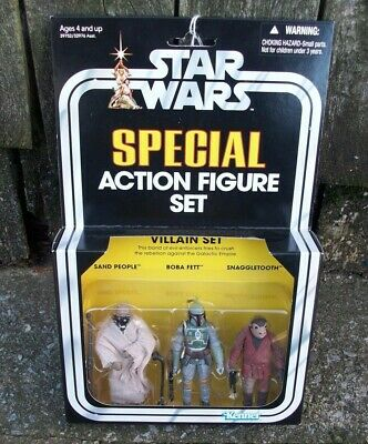 Star Wars Action Villain Figure Set of 3 Sand People Boba Fett Snaggletooth
