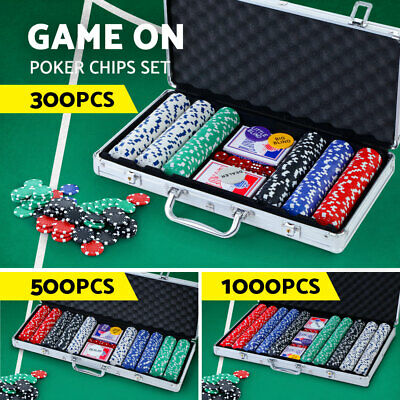 Poker Chip Set TEXAS HOLD'EM Casino Gambling Party Game Dice Cards