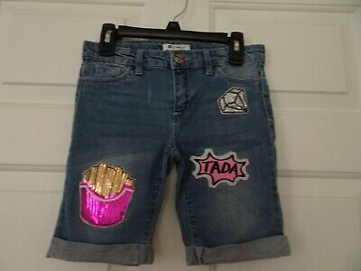 tractr Girl's Size 10 Blue Denim Cropped Pants/Jeans/Capri-Appliques-Bling-Cuffs