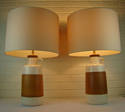 Pair Vintage Atomic Mid-Century Modern Art Pottery & Wood Pitcher Table Lamps