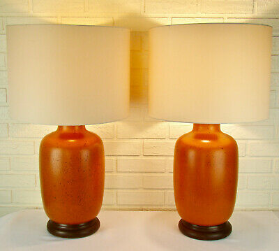 Pair of Vintage Mid-Century Modern Art Pottery Chinese Burnt Orange Table Lamps