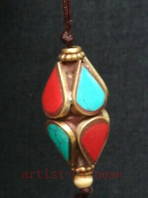 Collection China Tibet Old Copper Inlay Turquoise Coral Necklace pendant Trinket