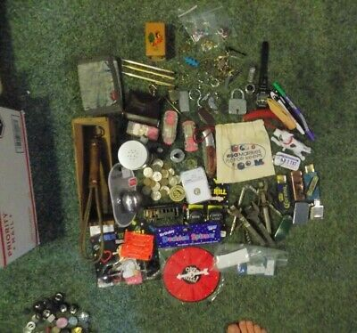 Junk Drawer LOT Wood Box Lighters Buttons Knives, US COINS Jewelry gold pens