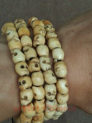 Collection Old China Tibetan Hand Carving Exorcism Skull Prayer Beads Hand Chain