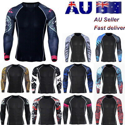 Mens Sport Gym Compression Thermal Under Base Layer Running Long Sleeve T-shirt
