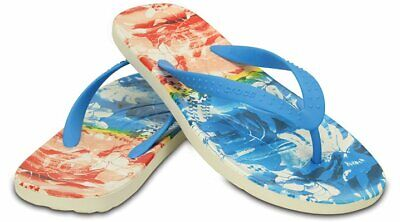 CROCS Tangerine Floral  Flip Flops  Chawaii Tropical II  Sizes 7 8 9 12 and 13