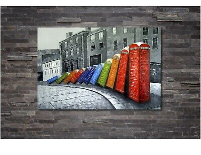 ABSTRACT PHONE BOX MULTI COLOUR PAINTING Canvas Wall Art Print FRAMED