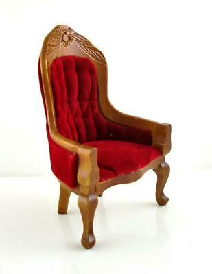 Dolls House Miniature Furniture Victorian Red and Walnut Gents Salon Chair