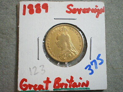 1889 One Sovereign Great Britain/ 917 Gold .2354 Agw (Uncertified)